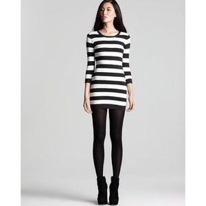French Connection sweater dress stripe black white